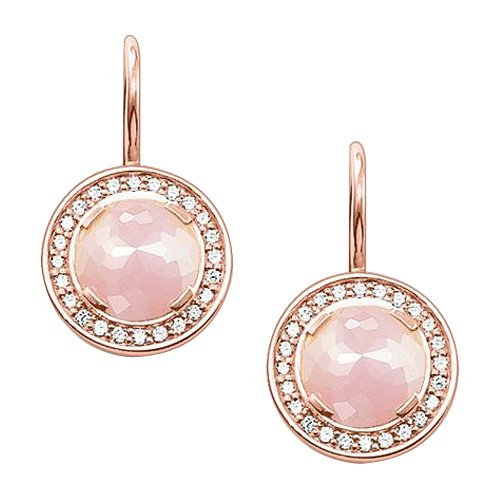 Thomas Sabo-Orecchini pendenti da donna Glam e quarzo Soul orecchino argento 925placcato oro rosa, zirconi taglio rotondo-H1809-417-9