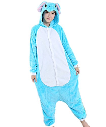 Kenmont Jumpsuit Tier Cartoon Einhorn Pyjama Overall Kostüm Sleepsuit Cosplay Animal Sleepwear für Kinder/Erwachsene (Medium, Elefant)
