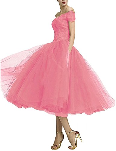 Tee-länge Brautkleid Spitze (Lilybridal Elegant Ballkleider Tee Länge aus Schulter Abschlussballkleider Abendkleider 129)