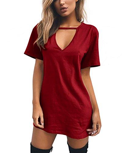 Cindeyar Damen Casual Sommerkleid Minikleid Lose V-Ausschnitt T Shirt Kleid Strandkleid Blusenkleid Kurze Partykleid (Weinrot, L)