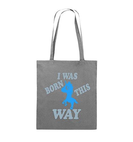 Comedy Bags - I was born this way - EINHORN - Jutebeutel - lange Henkel - 38x42cm - Farbe: Schwarz / Weiss-Neongrün Dunkelgrau / Eisblau-Blau