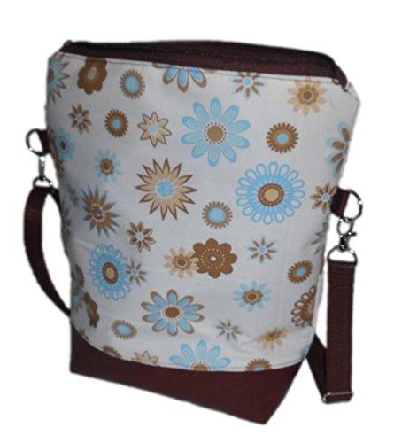 pinkeSterne ☆ Handtasche Umhängetasche Schultertasche Kunstleder Blume Blumen Handmade Blau Türkis Braun / 2R-HG1Z-S90Q (Messenger Fold Bag Leder)