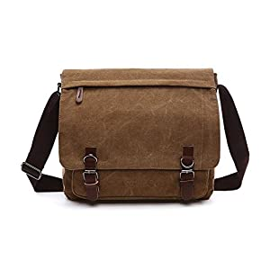 Aizbo Men's Shoulder Messenger Bag Canvas Crossbody Work / Day Bag Laptop Bag for 15 Inches, Large Size