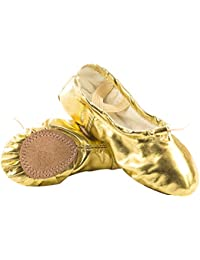 4f17ff26ed21 APTRO Ballet Shoes Split Sole with Satin Gymnastics Dance Shoes Flats for  Girls Adults with Ribbons