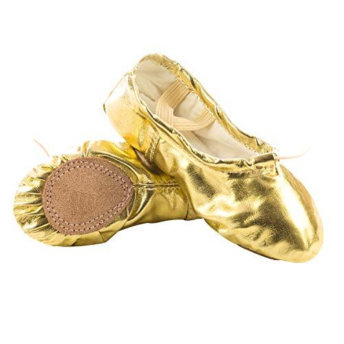 Ballettschuhe Mädchen Tanzschuhe ballettschläppchen Damen bequem Spitzenschuhe Kinder Gold 31