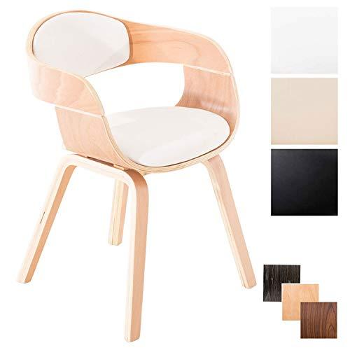 Clp sedia visitatore kingston in similpelle| sedia rétro con braccioli, 4 gambe, imbottita | sedia pranzo in legno | sedia conferenza | sedia attesa design con schienale bianco natura