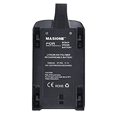 Masione 11.1V 1600mah 20C Li-Po Powerful Battery for Parrot Bebop Drone 3.0 Quadcopter Helicopter