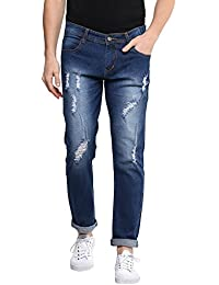 Urbano Fashion Men's Heavy Distressed Light Blue Slim Fit Stretch Jeans