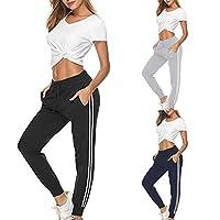 Women Yoga Trousers High Waist Stripe Sport Casual Loose Long Pants