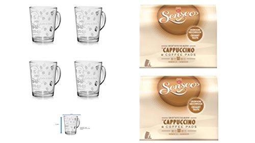Senseo Kaffeepads 2er Pack + 4er Set Gläser mit Henkel 280ml …