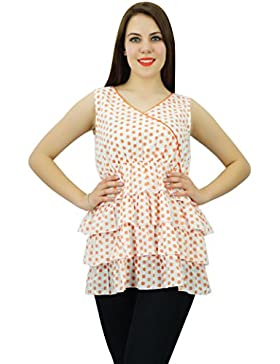 Phagun impresos sin mangas de las mujeres ropa de sport corta de algodón Ropa Kurti