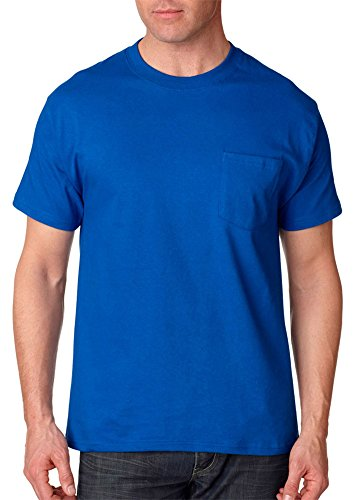 Hanes Adult High Stitch Ring Spun Preshrunk Pocket T-Shirt Deep Royal