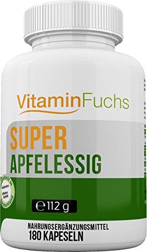 Apfelessig Kapseln natürlich und hochdosiert. Ideal bei der Stoffwechsel Kur. Apfelessig Deluxe - 180 Kapseln von VitaminFuchs