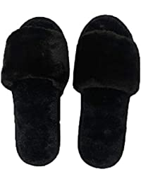 ILU Slipper for Women's Flip Flops Fur Winter House Slides Home Indoor Outdoor Sandals