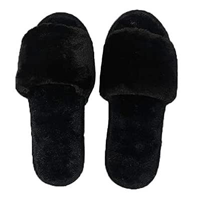 ILU Slipper for Women's Flip Flops Fur Winter Fashion House Slides Home Indoor Outdoor Sandals