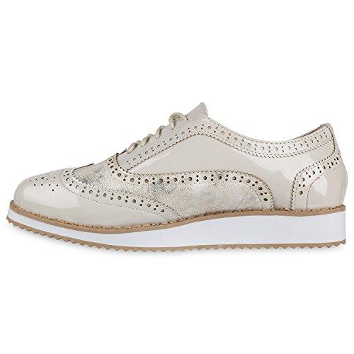 Damen Halbschuhe Lack Glitzer Brogues Dandy Schuhe Profilsohle Creme Lack