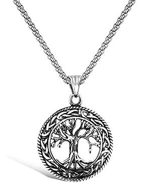 Emma Gioielli - Damen Herren Unisex Kette Halskette 60 cm chirurgischer Edelstahl HOHE QUALITÄT mit Anhänger Baum...