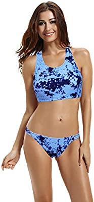 zeraca Mujer Cuello Alto Crochet espalda cruzada Bikini Traje De Baño