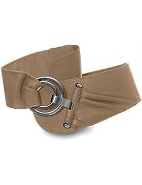 CASPAR GU246 Cinturón Ancho para Mujer con Elástico y Hebilla Redonda - Varios Colores
