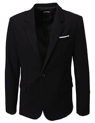 FLATSEVEN Mens Designer Waffle Fabric Blazer (BJ115) Black, Mens M
