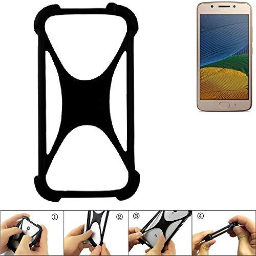 K-S-Trade Handyhülle Lenovo Moto G5 Single-SIM Silikon Schutz Hülle Cover Case Bumper Silikoncase TPU Softcase Schutzhülle Smartphone Stoßschutz, schwarz (1x)