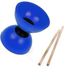 Diabolo de jonglage en caoutchouc souple de couleur bleu, avec 2 baguettes en bois - Visiodirect -