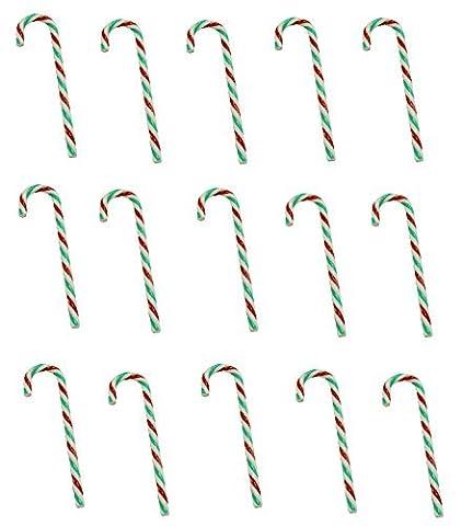 XXL Set 15 x Zuckerstangen aus Kunststoff Rot Weiß Grün mit Zuckerkristallen Christbaumschmuck Baumschmuck Christbaumkugel Weihnachten Deko Adventskranz