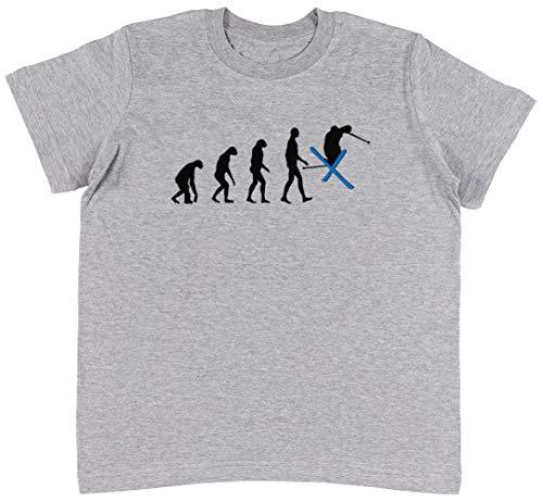 Snowboard 134cm (Evolution Ski Grau T-Shirt Jungen Mädchen Größe M | Unisex Kids Grey T-Shirt Size M)