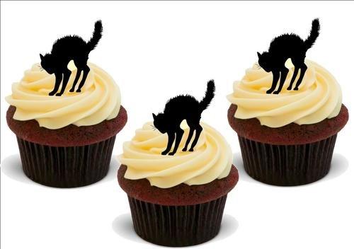 HALLOWEEN KATZE Silhouette - 12 essbare hochwertige stehende Waffeln Kuchen Toppers - HALLOWEEN CAT Silhouette