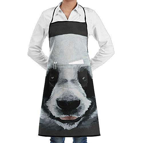 Clip Art Kostüm - dfgjfgjdfj Panda Face Clip-Art Schürze Lace Adult Mens Womens Chef Adjustable Polyester Long Full Black Cooking Kitchen Schürzes Bib with Pockets for Restaurant Baking Crafting Gardening BBQ Grill