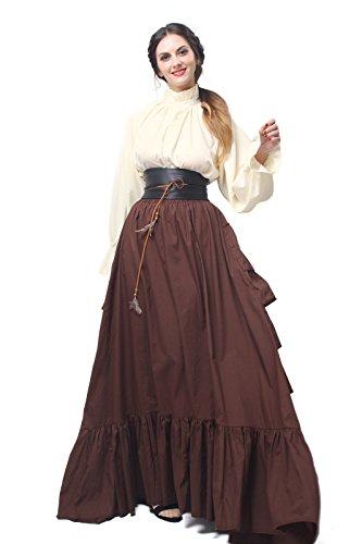 Damen Renaissance mittelalterliche Kostüm Langarm Party Kleid Tops, Rock,Gürtel (braun, XXL)