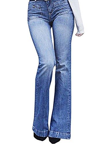 Outgobuy Damenmode Casual Schmeichelhaft Ausgestellte Jeans Sexy Kick Flare Bootcut Hosen (Medium, Blau) (Denim Jeans Bootcut Flare)