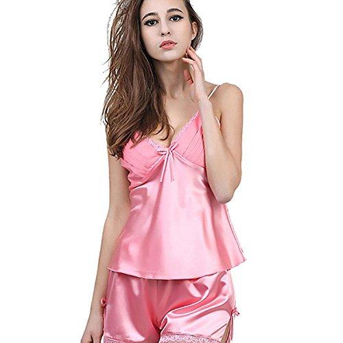 CHUNHUA Ms. pizzo imitazione pigiama di seta imbracatura pantaloncini corti pantaloni vestito tuta fessura (colore facoltativo) , magenta , xl