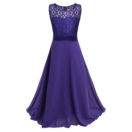 LA JINIRR Mädchen A-Linie Kleid, Einfarbig Gr. 9-10 -