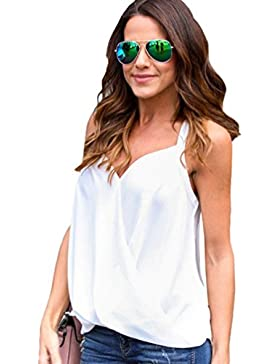 Sentao Verano De Las Mujeres Sin Mangas Cuello V Blusa Camiseta Tops