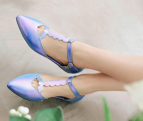 Aisun Femme Mode Couleur Unie T-Strap Plat Ballerines Bleu