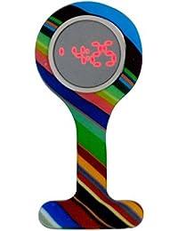 Boxx Led Digital Display Funky Rainbow Design Silicone Nurses Fob Watch Boxx389