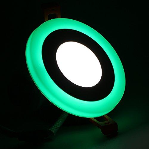 (2 Pack) LED iluminación de techo, Maigel doble color LED panel de luz LED Downlight LED empotrable iluminación, 3+3W Round White+Green