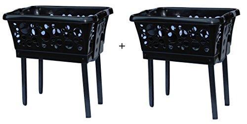 2 x Wäschekorb aus Kunststoff mit ausklappbaren Beinen in weiß, blau, schwarz, grün oder pink (2er Set, schwarz)
