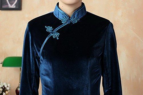 Bigood Robe Femme Velours Cheongsam Qipao Manche 3/4 Luxueux Long Bleu