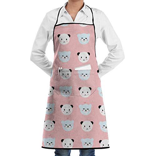 Drempad Premium Unisex Schürzen, Bears and Pandas Retro Aprons Kitchen Chef Bib - Professional for BBQ Baking Cooking for Men Women -