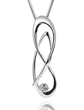 MATERIA 925 Silber Damen Kettenanhänger Unendlichkeit 17x51mm mit Silber Schlangenkette 45cm inkl. Schmuck Box...