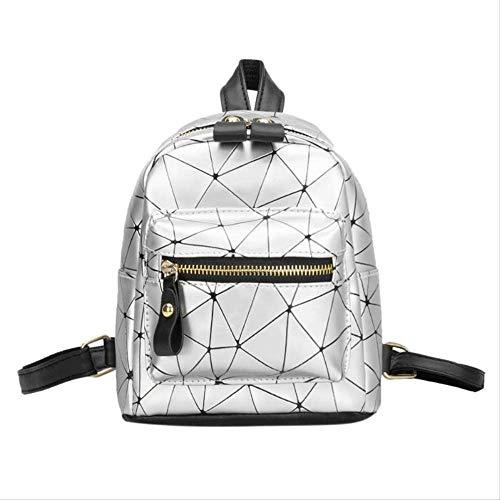 Dame Rucksack pu Leder Mini Rucksack Mode weibliche schultaschen mädchen tägliche Geometrie Reisetasche Silber