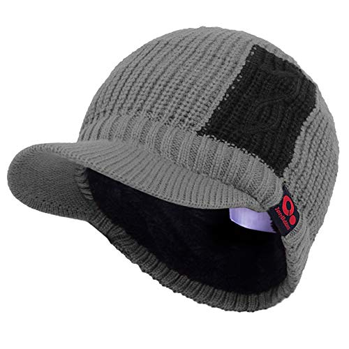 115c46da0a9da7 Janey&Rubbins Fall Winter Peaked Beanie Two Tone Knit Visor Hat Fleece Lined  Ski Cap (Gray