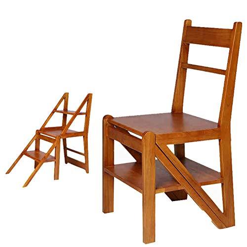 LIXIONG Moderne Chaise Pliante Échelles Multifonctions Usage Double Échelle en Trois Étapes Bois en Caoutchouc, Couleur Bois tabourets de bibliothèque (Taille : 42.2x40x88.5cm)