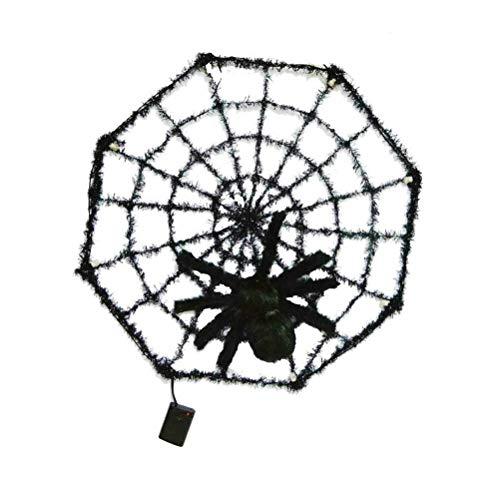 BESTOYARD Bunte leuchtende Halloween-Beleuchtung Spider Gruselige Spinnennetz, Horror-Dekoration, Requisiten für Club, Pub, Spukhaus (ohne Batterie)