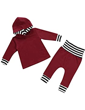 Sharplace Set di 2pz T-shirt Top Camicie Felpe Completini con Pantaloni per Bambini Neonato Prima Infanzia