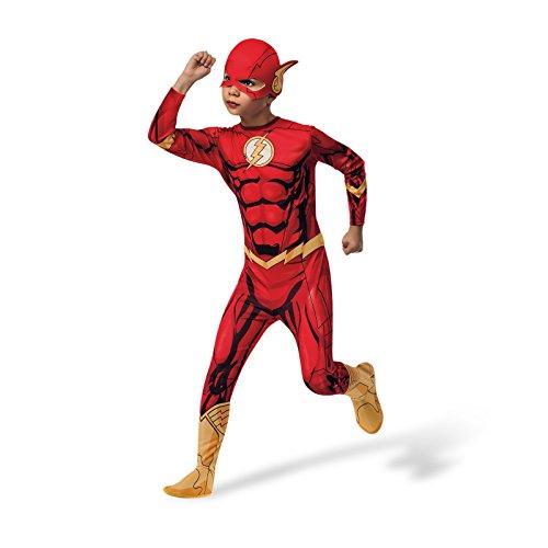 Preisvergleich Produktbild Justice League Flash Kostüm Kinder Superhelden Overall rot mit Beinstulpen Maske Gürtel - L