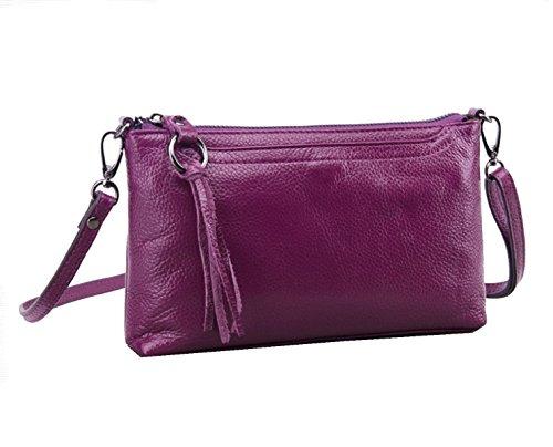 Yy.f Nuove Borse Di Cuoio Sacchetto Di Spalla Delle Signore Diagonale Vacchetta 2 Colori Viola Giallo Purple