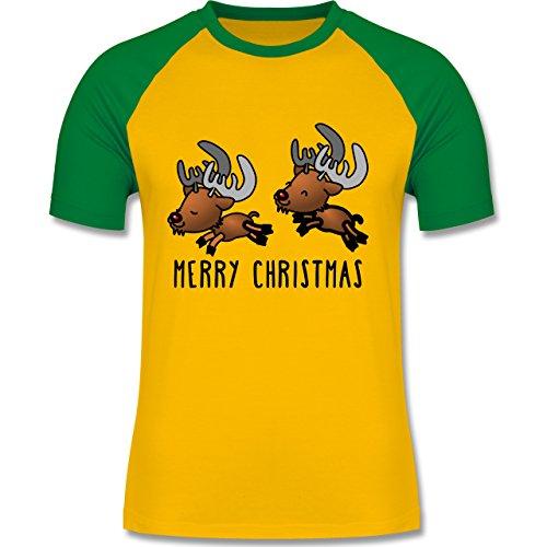 Weihnachten & Silvester - Rentiere Merry Christmas - zweifarbiges Baseballshirt für Männer Gelb/Grün